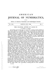 American Journal of Numismatics (Series One), Vols. 19 - 22