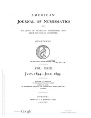 American Journal of Numismatics, Vols. 29 - 30