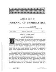 American Journal of Numismatics, Vols. 35 - 36