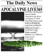 APOCALYPSE LIVE 365 PART 1 KDOA HORROR AND HALLOWEEN RADIO FINAL MIX : Dj  Dug Graves : Free Download, Borrow, and Streaming : Internet Archive