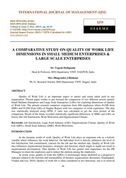 comparative study of quality of work Assessing customer perception of service quality: comparative study of airlines in uae  there has been little empirical work that relates the elements of customer .