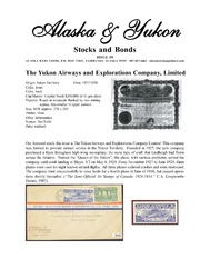 Alaska & Yukon Stocks and Bonds Issue #0