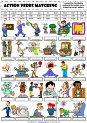 Action Verbs 1 Vocabulary Matching Worksheet  Action Verbs