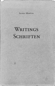 agnes martin writings 6-8 as quoted in writings / schriften', of agnes martin edited by / herausgegeben von dieter schwarz, kuntsmuseum winterthür / edition cantz, 1991, p 61-62 as i describe inspiration i do not want you to think i am speaking of religion that which takes us by surprise - moments of happiness - that is inspiration.