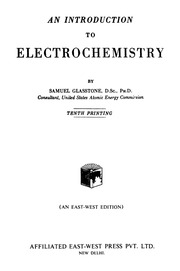 An Introduction To Electrochemistry By Samuel Glaston