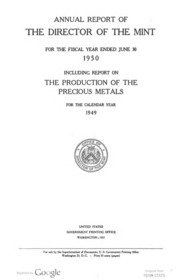 Annual Report of the Director of the Mint Fiscal Year Ended June 30, 1950