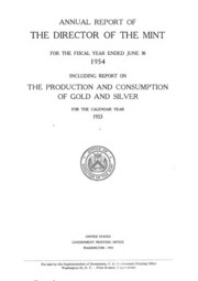 Annual Report of the Director of the Mint Fiscal Year Ended June 30, 1954