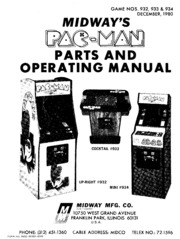 arcade game manual: midway's pac-man parts and operating
