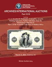U.S. & Worldwide Banknotes, Scripophily, Security Printing Ephemera, Further Selections from the Hamtramck Collection & Part 1 of the Scarsdale Collection of Modern Africa