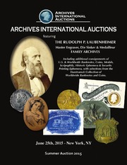 The Rudolph P. Laubenheimer Master Engraver, Die Sinker & Medailleur Family Archives Including additional consignments ...