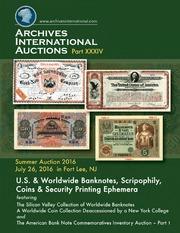 U.S. & Worldwide Banknotes, Scripophily, Coins & Security Printing Ephemera