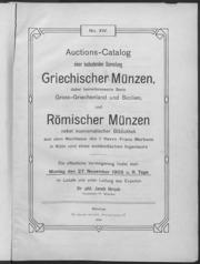 Auctions-Catalog einer bedeutenden Sammlung Griechischer Muenzen