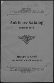 Auktions-Katalog Oktober 1911