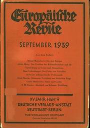 Europäische Revue XV. Jahrgang September 1939 pages 191-268