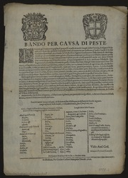 [Placard] Bando per causa di peste