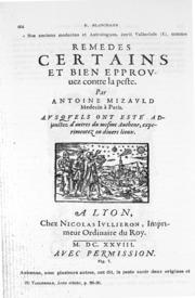 Notes historiques sur la peste