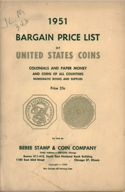 1951 Bargain Price List of United States Coins