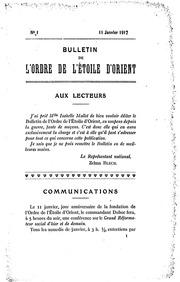 Bulletin de lOrdre de lÉtoile dOrient 1917 No 01 Janvier Le Nouvel Ordre Mondial