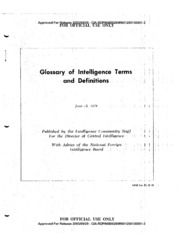 GLOSSARY OF INTELLIGENCE TERMS AND DEFINITIONS : Central
