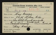 Entry card for Ames, May for the 1919 May Show.