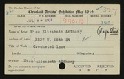 Entry card for Anthony, Elizabeth, and Cleveland Society for the Blind for the 1919 May Show.
