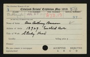 Entry card for Bacon, Ann Anthony for the 1919 May Show.