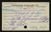 Entry card for Baker, Adelaide Clarissa for the 1919 May Show.