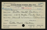 Entry card for Baker, Ruth Hall for the 1919 May Show.