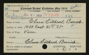 Entry card for Barrick, Clara Hitchcock for the 1919 May Show.