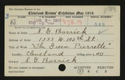 Entry card for Barrick, Shirley Gordon for the 1919 May Show.