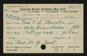 Entry card for Bauder, Mrs. F. S.  for the 1919 May Show.