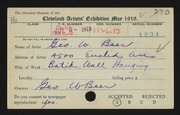 Entry card for Beer, George W. for the 1919 May Show.