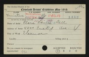 Entry card for Bell, Clara  for the 1919 May Show.