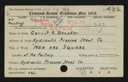 Entry card for Beneker, Gerrit A. for the 1919 May Show.