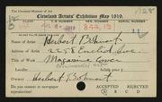 Entry card for Bohnert, Herbert for the 1919 May Show.