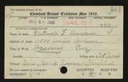 Entry card for Bourland, Gertrude T. for the 1919 May Show.