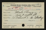 Entry card for Boyer, Merle for the 1919 May Show.