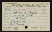Entry card for Brady, Morton J. for the 1919 May Show.