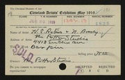 Entry card for Brody, Nathan E., and Robus, Hugo; Potter and Mellen for the 1919 May Show.