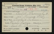 Entry card for Broemel, Carl William for the 1919 May Show.