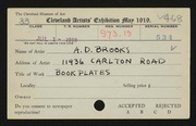 Entry card for Brooks, Arthur D. for the 1919 May Show.