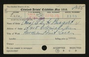 Entry card for Burgert, Mrs. L. A. H. for the 1919 May Show.
