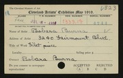 Entry card for Burna, Bobara for the 1919 May Show.