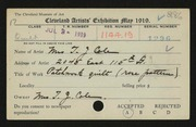 Entry card for Cole, Mrs. T. J. for the 1919 May Show.