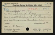 Entry card for Cone, Lena Louise for the 1919 May Show.