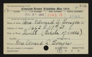 Entry card for Conger,Elizabeth Stevens for the 1919 May Show.