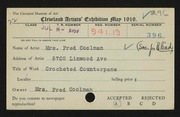 Entry card for Coolman, Anna N., and Cleveland Society for the Blind for the 1919 May Show.