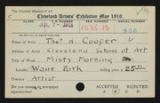 Entry card for Cooper, Thomas Heaton, and Cleveland School of Art for the 1919 May Show.