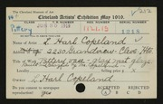 Entry card for Copeland, L. Harl for the 1919 May Show.