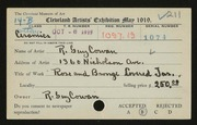Entry card for Cowan, Reginald Guy for the 1919 May Show.